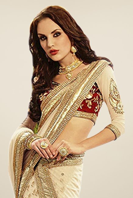 Triveni Beige Resham Embroidered Saree