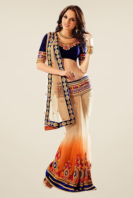 Triveni Beige & Orange Embroidered Net Saree