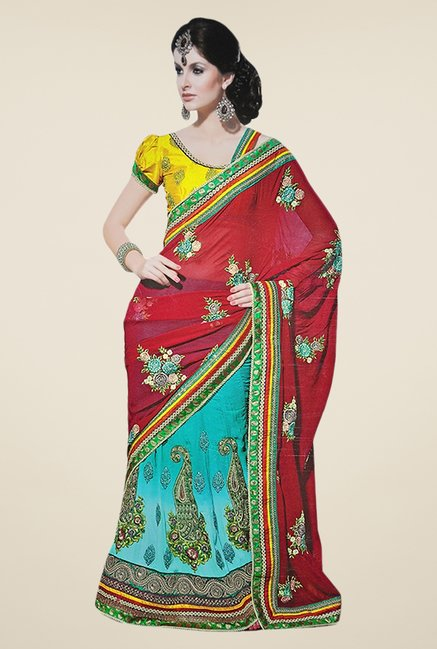 Triveni Sky Blue & Pink Embroidered Faux Georgette Saree