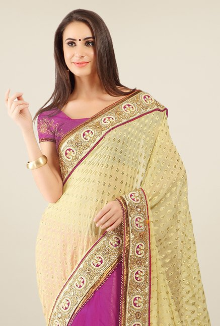 Triveni Purple & Beige Embroidered Viscose Jacquard Saree