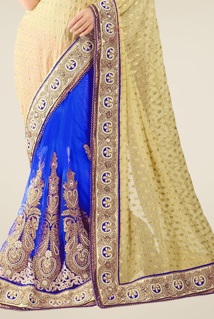 Triveni Blue & Beige Embroidered Jacquard Saree