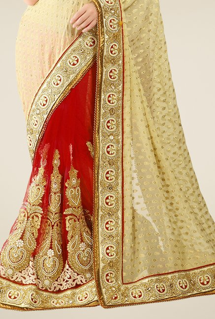 Triveni Red & Beige Embroidered Viscose Jacquard Saree