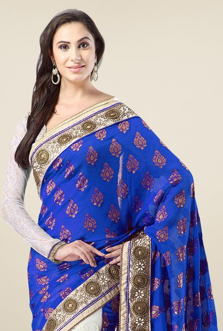 Triveni Off White & Blue Embroidered Banarasi Silk Saree