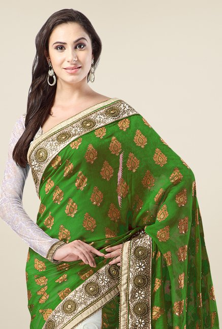 Triveni Off White & Green Embroidered Banarasi Silk Saree