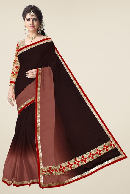 Triveni Brown Solid Satin Saree
