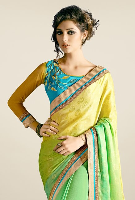Triveni Green & Yellow Printed Faux Georgette Saree