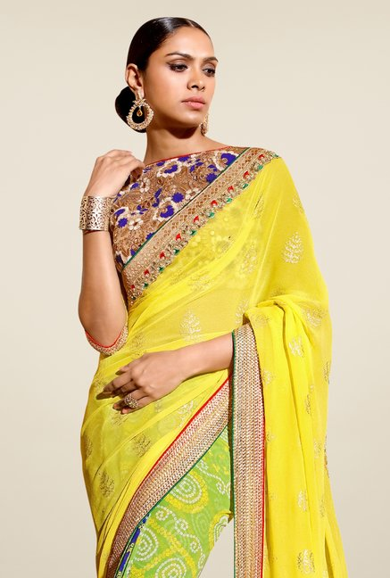 Triveni Green & Yellow Bandhani Faux Georgette Saree
