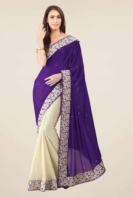 Triveni Beige & Purple Embroidered Crepe Saree