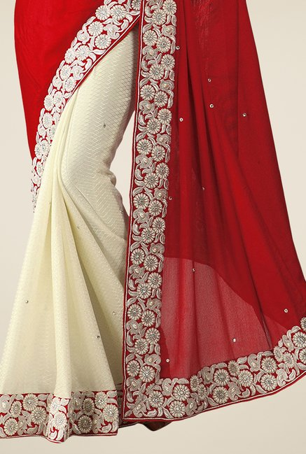 Triveni Beige & Maroon Embroidered Lycra Saree