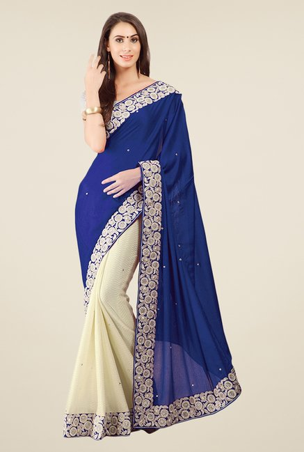 Triveni Beige & Blue Embroidered Faux Georgette Saree