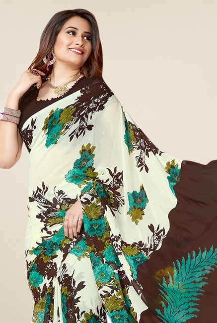 Triveni White & Brown Printed Faux Georgette Saree