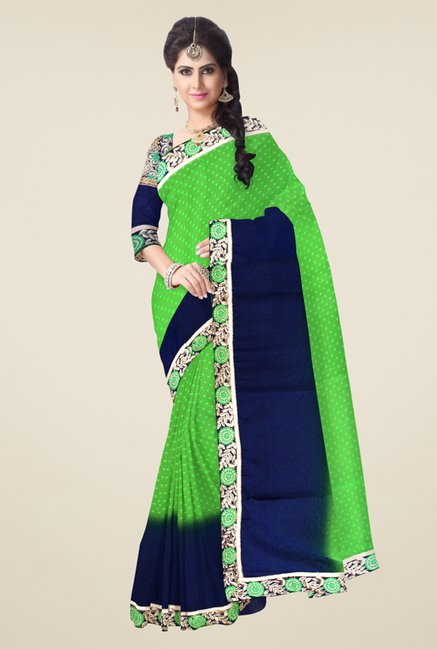Triveni Green & Navy Printed Jacquard Saree