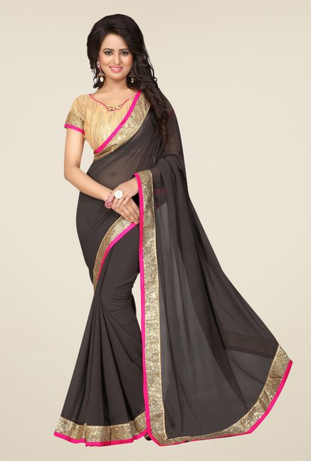 Triveni Charcoal Solid Faux Georgette Saree