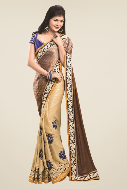 Triveni Beige & Brown Embroidered Faux Georgette Saree
