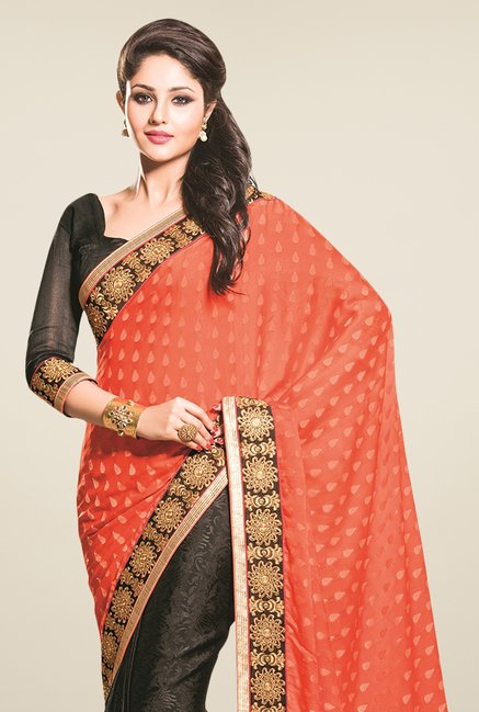 Triveni Black & Orange Printed Jacquard Saree