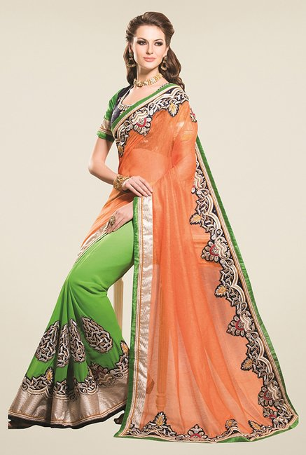 Triveni Green & Orange Embroidered Super Saree