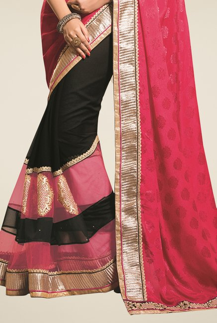 Triveni Black & Pink Embroidered Faux Georgette Saree