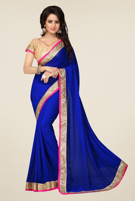 Triveni Dark Blue Solid Faux Georgette Saree