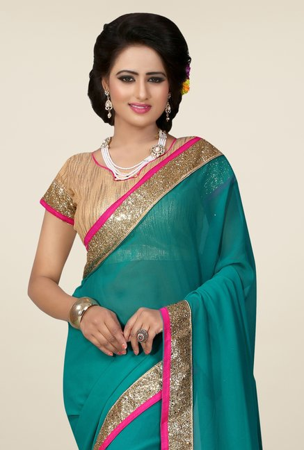 Triveni Teal Solid Faux Georgette Saree