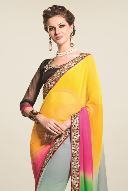 Triveni Multicolor Embroidered Chiffon Saree