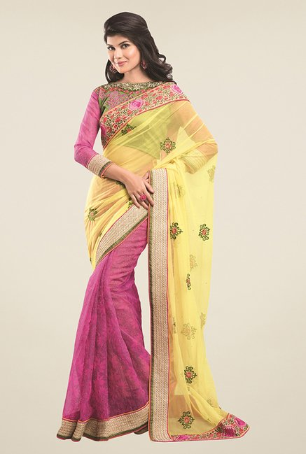 Triveni Pink & Yellow Printed Supernet Saree