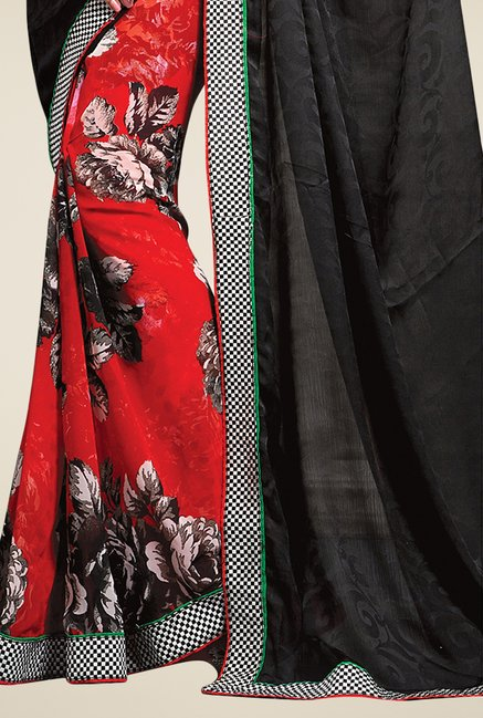 Triveni Red & Charcoal Printed Faux Georgette Satin Saree