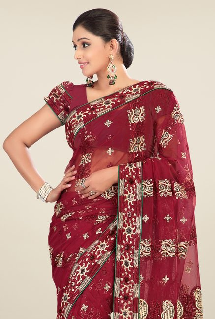 Triveni Maroon Embroidered Net Saree