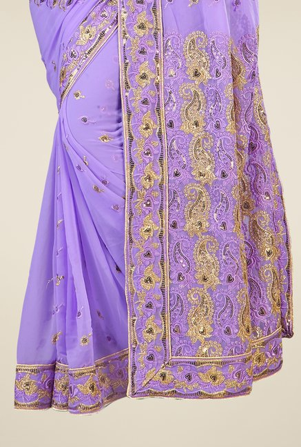 Triveni Purple Embroidered Faux Georgette Saree