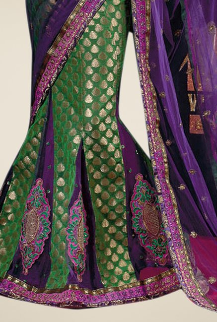 Triveni Green & Purple Embroidered Jacquard Lehenga Saree