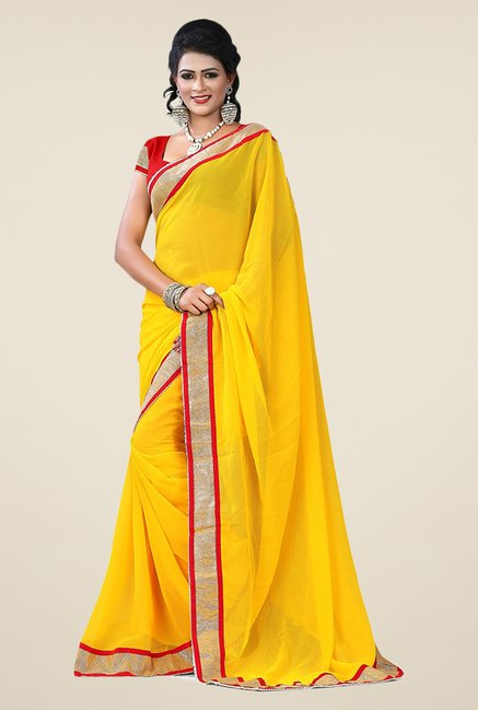 Triveni Yellow Solid Chiffon Saree