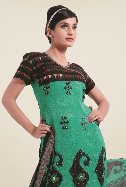 Triveni Green & Black Printed Dress Material