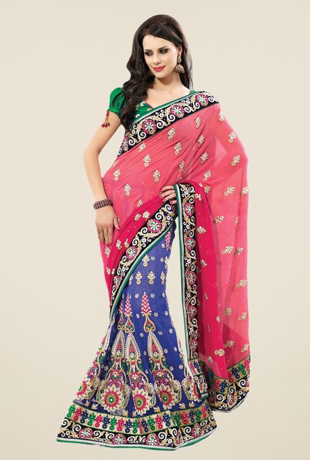 Triveni Pink & Blue Embroidered Faux Georgette Lehenga Saree
