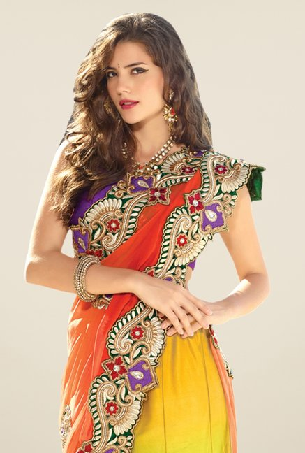 Triveni Multicolor Embroidered Faux Georgette Lehenga Saree