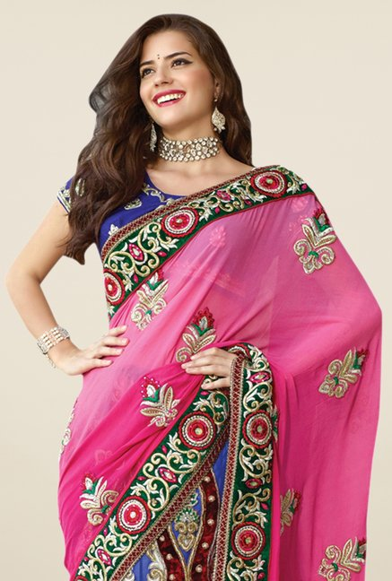Triveni Blue & Pink Embroidered Lehenga Saree