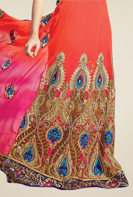 Triveni Orange & Pink Embroidered Lehenga Saree