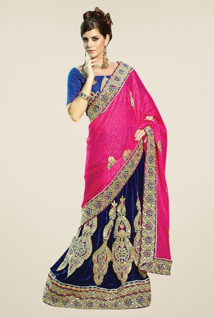 Triveni Magenta & Navy Embroidered Lehenga Saree