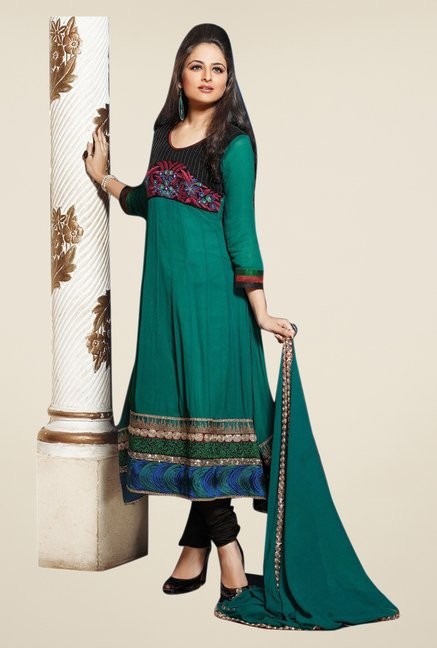 Triveni Green & Black Embroidered Dress Material