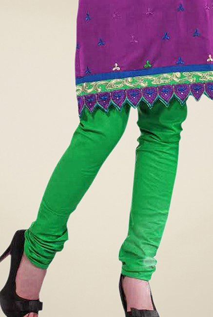 Triveni Purple & Green Embroidered Dress Material