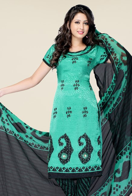 Triveni Turquoise & Black Printed Dress Material