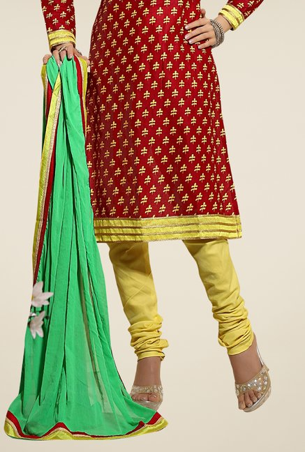 Triveni Maroon & Yellow Embroidered Dress Material