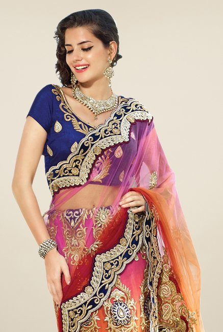 Triveni Orange & Blue Embroidered Net Lehenga Saree