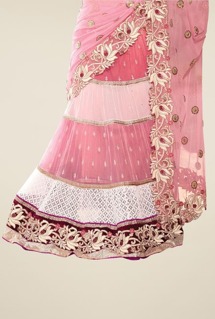 Triveni Pink Embroidered Net Lehenga Saree