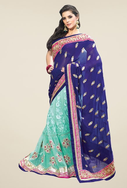Triveni Sky Blue & Navy Embroidered Lehenga Saree