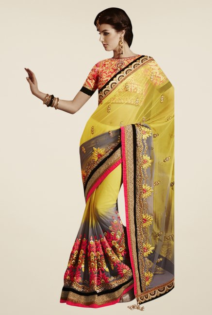 Triveni Yellow & Grey Embroidered Net Saree