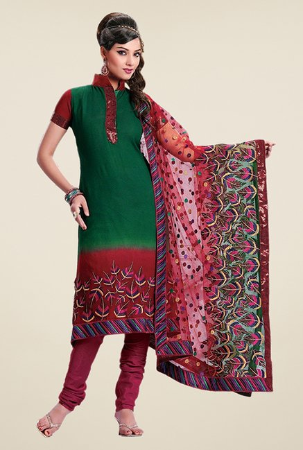 Triveni Green & Maroon Embroidered Dress Material