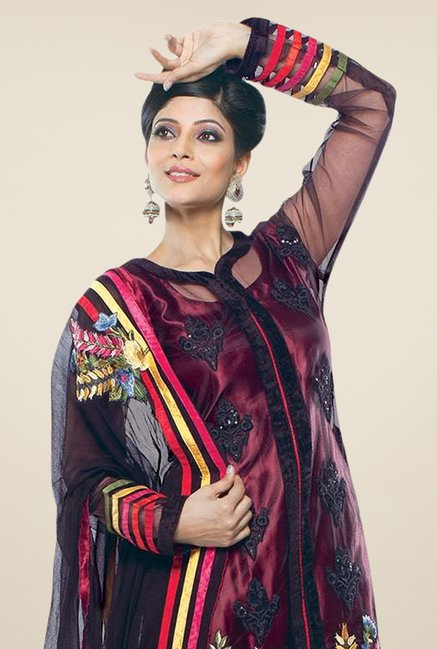 Triveni Maroon Embroidered Dress Material