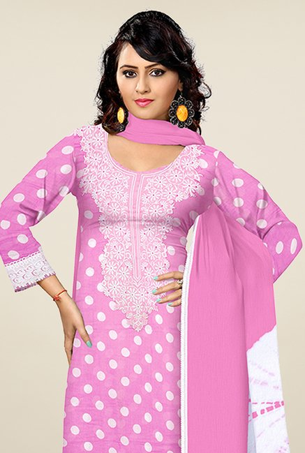 Triveni Pink & White Polka Dot Dress Material
