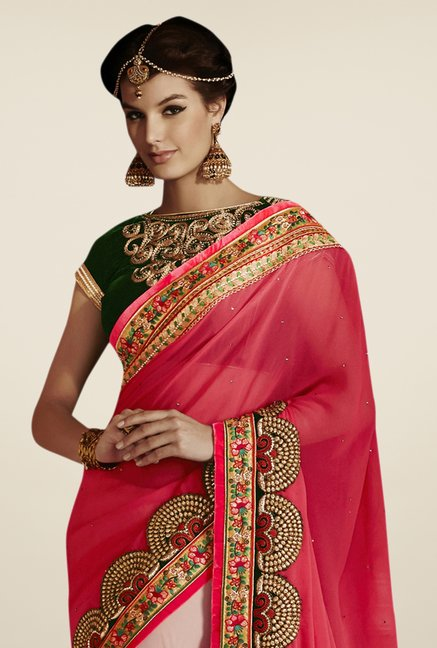 Triveni Pink Embroidered Net Saree