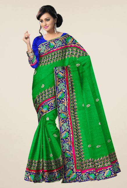 Triveni Green Embroidered Banarasi Silk Saree