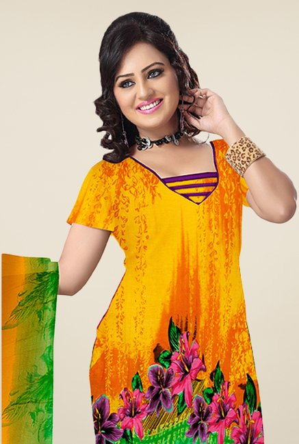 Triveni Orange & Purple Floral Print Dress Material
